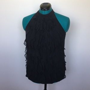 Black High neck ruffled halter top